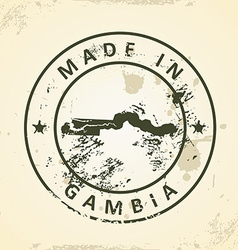 Stamp with map of Gambia vector image