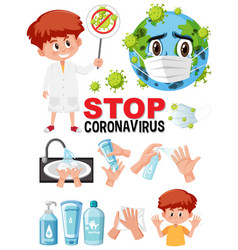stop coronavirus text sign with hand using vector image