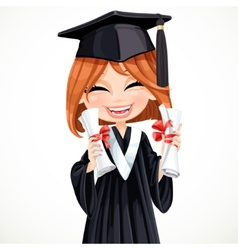 Student girl holding two diplomas vector
