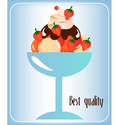 Sundae with whipped cream vector image