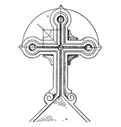 tomb cross childe vintage engraving vector image