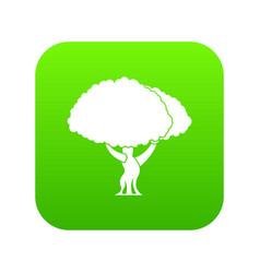 Tree icon digital green vector