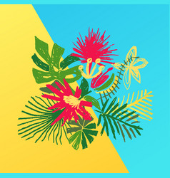 tropical flower composition duotone background vector image