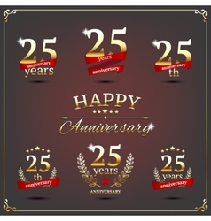 Twenty five years anniversary signs collection vector image