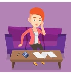 Unhappy caucasian woman accounting home bills vector image vector image