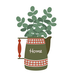 vintage red-green jug with a wooden handle vector image