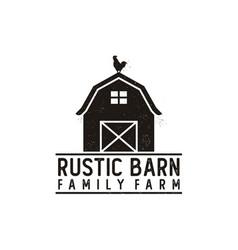 Vintage retro rustic grunge barn farm logo design vector