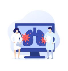 Virus in lungs pneumonia art with medics vector