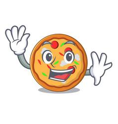 Waving pizza character cartoon style vector