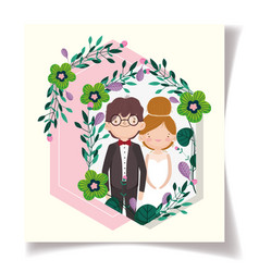 wedding couple flower ornament event card vector image