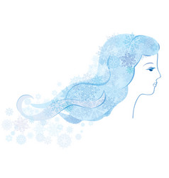 Winter holiday background with snow girl portrait vector
