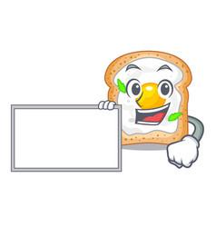 With board cartoon eggs sandwich in for breakfast vector