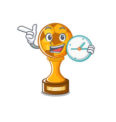 With clock soccer trophy with mascot shape vector