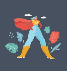 woman in superhero costume on dark vector image