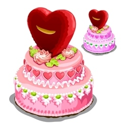 Beautiful pink cake with heart biscuits vector