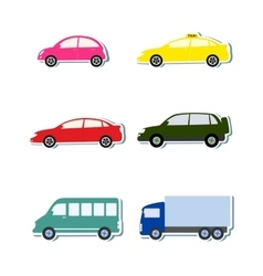colorful sticker set with car icon vector image