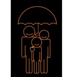 family under umbrella vector image vector image