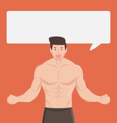 fitness muscular healthy man tell and explain vector image