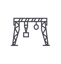 harbour crane line icon sign vector image