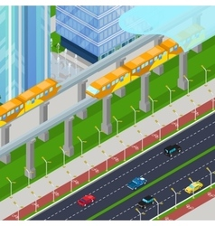 Isometric Monorail Railway Train in Modern City vector image vector image