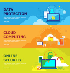 set of banners for a cloudy data center vector image
