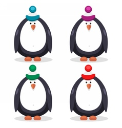 set of flat penguin vector image