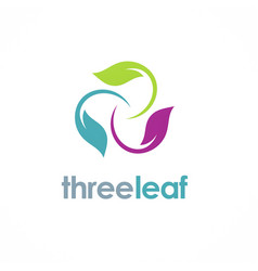 three color leaf logo vector image