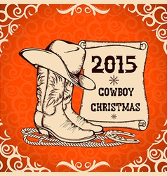 Western New Year greeting card with cowboy vector image vector image