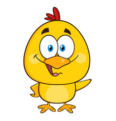 yellow chick cartoon character waving vector image