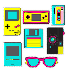 fashion patch badges with game photo camera vector image
