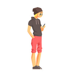 guy with smartphone in short-sleeve hoodie young vector image