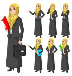 Set of Modern Muslim Businesswoman in Flat Design vector image