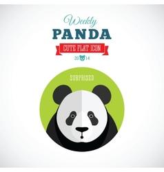 Weekly Panda Cute Flat Animal Icon - Surprised vector image