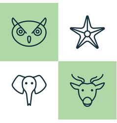 zoology icons set collection of starfish trunked vector image