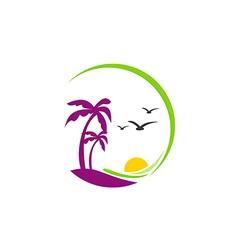 beach palm tree sunset tropic logo vector image vector image