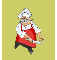 cartoon happy chef jumping with a knife vector image