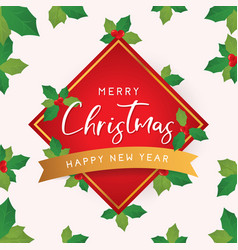 christmas and new year card with leaves vector image vector image