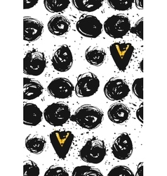 Seamless dot and heart patternHand painted vector image