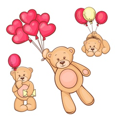 set of teddy bear and balloons vector image vector image