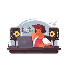 sound designer on workplace vector image