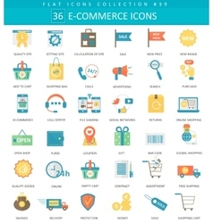 e-commerce color flat icon set Elegant vector image vector image