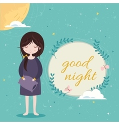 Good night card Cute girl in the sleepwear vector image