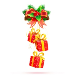 of christmas decorative composition with evergreen vector image vector image