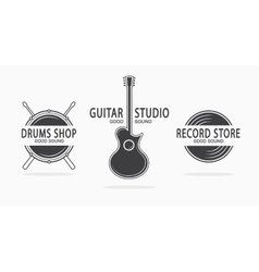 Set of vintage musical instrument logos vector image