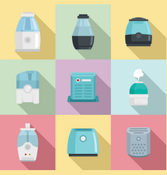 Air purifier icons set flat style vector