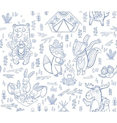 Animal Woodland Camping sketch vector image