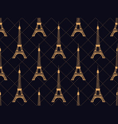 Art deco seamless pattern with eiffel tower gold vector
