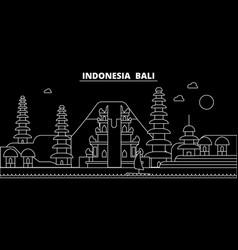 bali silhouette skyline indonesia - bali vector image