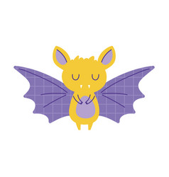 Bat with grid wings animal cartoon doodle color vector