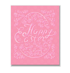 Beautiful happy easter card with lettering and egg vector